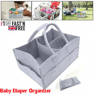 Felt Baby Diaper Caddy Nursery Storage Wipes Bag Nappy Organizer Container UK AN