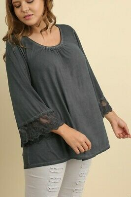 Umgee Plus Size Gray Lace Trimmed Long Angel Sleeve Top WN5037