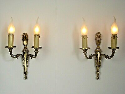 Pair Antique French Brass Traditional Empire Style Double Flame Sconces 1560