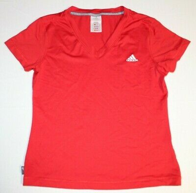 Girls Adidas Climalite Short Sleeve Shirt Top Youth Medium Red Athletic Running