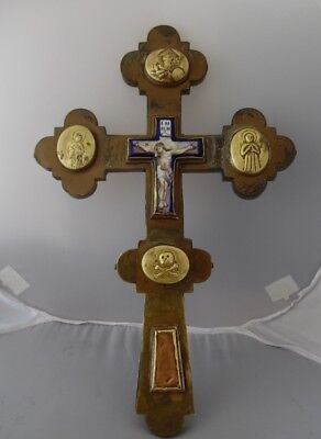 Antique 19 century Russian Finift Enamel Blessing Reliquary Cross Icon