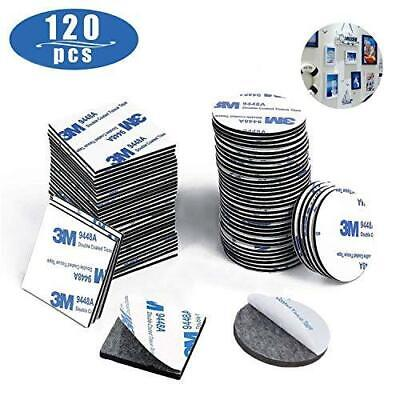 LIZHIGE Double Sided Sticky Pads Black, 120 Pieces Squares and Round Extra...