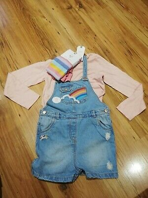 NEXT Girls Rainbow Bunny Denim Dungarees Shorts & Pink Top Set Outfit  6-7 Years