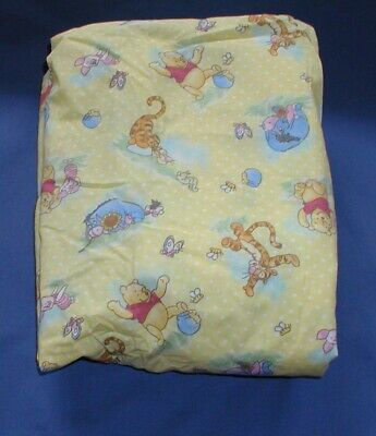 Winnie the Pooh and Friends Yellow Fitted Crib Sheet New without Packing