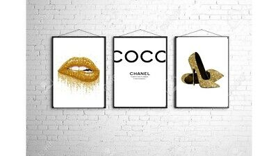 Coco Chanel A4 Wall Print Bedroom Dressing Room Home Poster Art Set Of 3 Gift 7