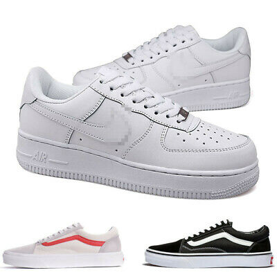 Van Old Skool Shoes White/Black All Size Mens Classic Canvas Sneakers Low Top UK