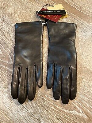 Isotoner Ladies 100% Cashmere Lined Genuine Leather Gloves Brown Size 6.5