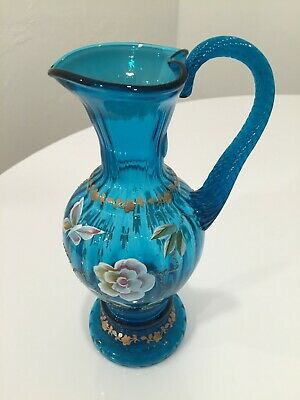 FENTON Artist Signed Hand painted Turquoise Glass Pitcher New Century Collection