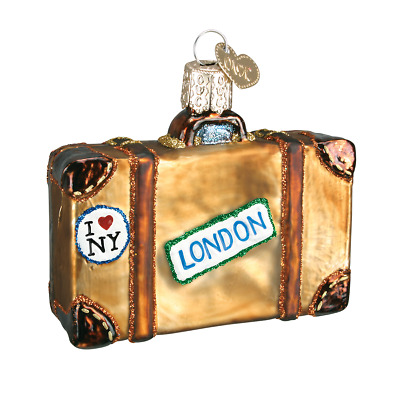 """""""Suitcase"""" (32105)X Old World Christmas Glass Ornament w/ OWC Box"""