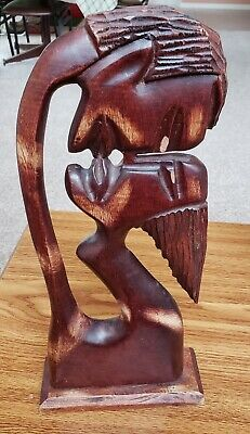 Vintage Hand Carved Tall Wooden Sculpture Of Kissing Couple - Erotic