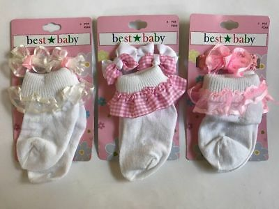 Best Baby Girl 3 PAIR Lace Cuff Socks w Matching Hair Accessories White 0-6 mo