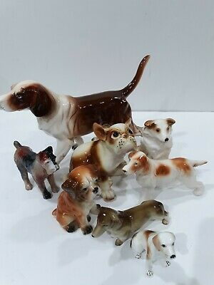 Dog Figurines Vintage Japan Wales Bone China Terrier Weiner Beagle Dachsund Lot