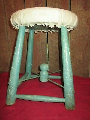 Primitive Antique Stool Wooden cow milking wood painted green cloth top