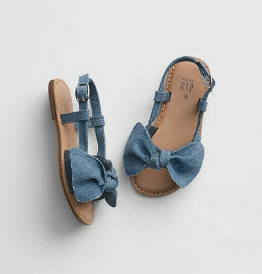 SZ 5 BABY GAP KIDS Blue Chambray denim Bow Sandals New Toddler Girl NWT