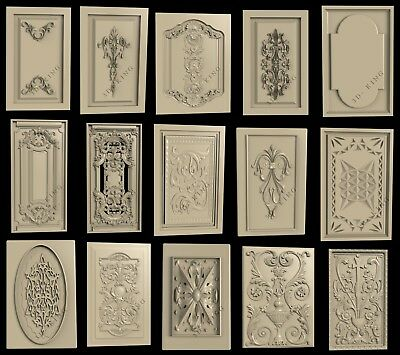 15 PCS 3D STL Model  DOORS & CABINETS 3  for CNC Aspire Artcam Carving Engraver