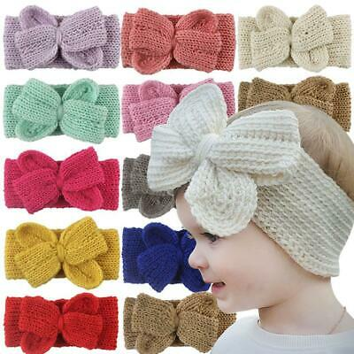 Baby Toddler Girls Headband Crochet Knitted Bow Turban Hair Cute Hair Band WearF