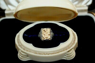 Antique Chinese Export Filigree Carved Bovine Bone Sterling Silver Ring Rg1