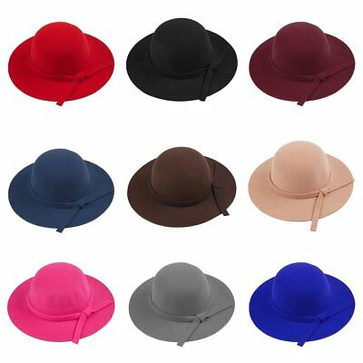Women Fashion Floppy Wide Brim Wool Felt Bowler Beach Hat Summer Sun Cap rh