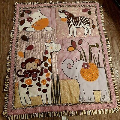 Baby Blanket quilted 4 animals multi colored pinkish back  Brown frill surrounds