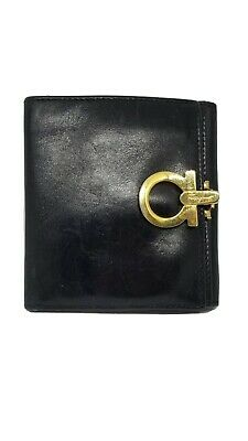 Authentic Salvatore Ferragamo Iconic Gancini Women's Black Leather Bifold Wallet