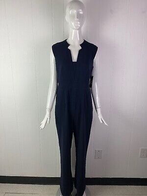 NWT Tahari by ASL Women's Navy Blue Notch Neck Stretch Crepe Jumpsuit Size 6