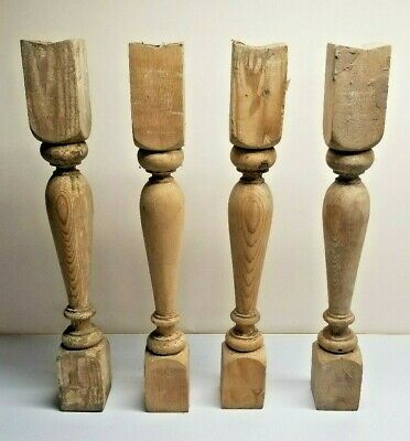 "(4 PCS) Arch Salvage Antique 22"" Victorian Wooden Spindle Balusters circa 1909"