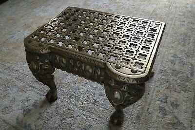 ANTIQUE BRASS FOOTMAN FOOT STOOL STAND VICTORIAN c.1850