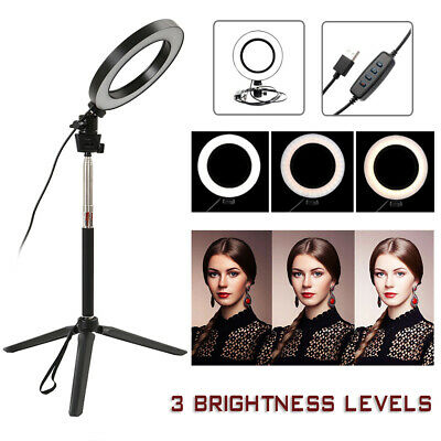 Studio LED Ring Light Dimmable Lamp YouTube Makeup Video Selfie Camera Phone UK