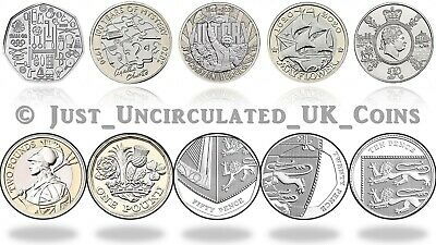 2020 UK £5 £2 £1 50p BU Coins - Agatha Christie, Mayflower, VE Day Royal Mint