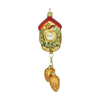 Christmas Cuckoo Clock with Pine Cone Ca 21cm Hand Blown Handpainted Lauscha