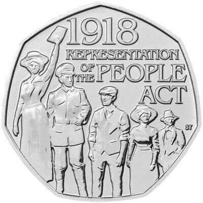 1918 Representation Of The People Act Coin 50P Fifty Pence Circulated Vgc 2018