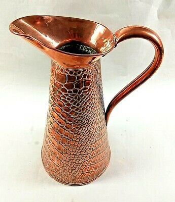 "J.S&S Joseph Sankey Arts & Crafts Copper Lizard Skin Jug Large No.6 - 13"", 33cm"