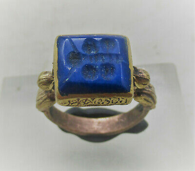 Beautiful Late Medieval Islamic Ottomans Gold Gilded Seal Ring Agate Stone