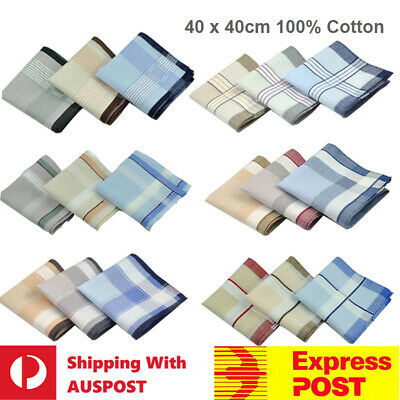 Bulk Sale Men 100% Cotton Large Handkerchief Soft Hanky Pocket 40cm