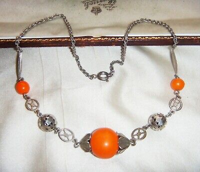 Vintage Art Deco Jakob Bengel Tangerine Galalith Machine Age Chrome Necklace