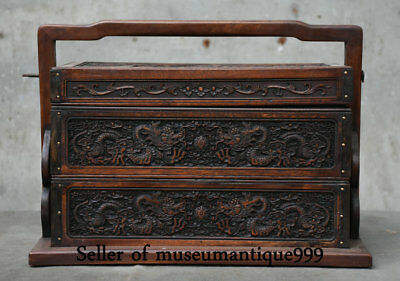 """14"""" Ancient Chinese Huanghuali Wood Dynasty Carved Dragon Ball portable Food Box"""