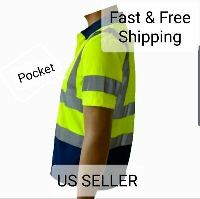 Hi-Vis Lime Safety Workwear Short Sleeve Polo Shirt Top Reflective Tape class 3