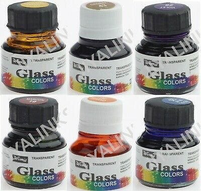 6x22ml Oil Based Glass Paints Colour Set Stained Window Transparent Crafts Arts