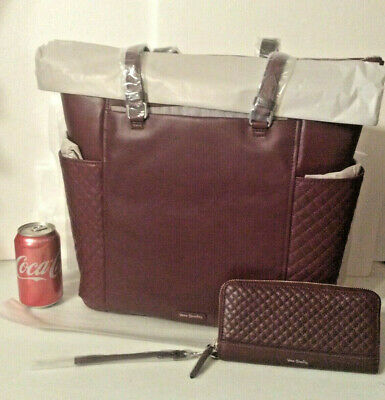 Vera Bradley Leather Burgundy Mulled Wine Large Carryall Tote Briefcase Work NWT