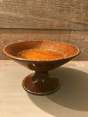 Vintage Patchwork Wooden Pedestal Bowl with Painted Accents