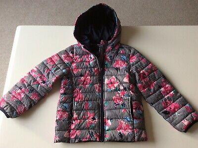 JOULES Girls Striped Floral Padded Hooded Winter Coat Jacket Age 6 Years Zip