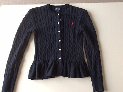 POLO RALPH LAUREN Girls Navy Cable Knit Peplum Cardigan Age 12-14 Years 150cm