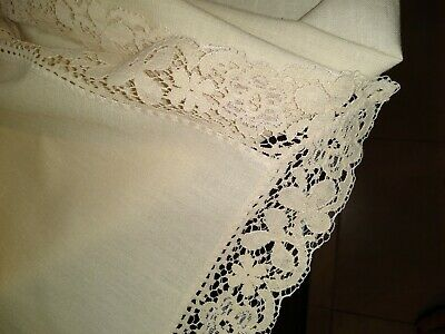 "Ivory Linen Tablecloth   64"" X 120""   3"" lace trim all around   MINT Condition!!"