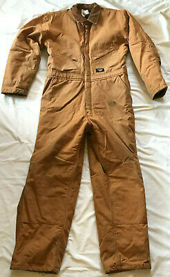 Walls Blizzard Pruf W15132FBW Pecan Insulate Zip Snap Coveralls Men's Large Tall