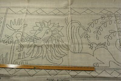 ALOYSIUS LION primitive rug hooking pattern linen folk art 30X60 Emma Lou design