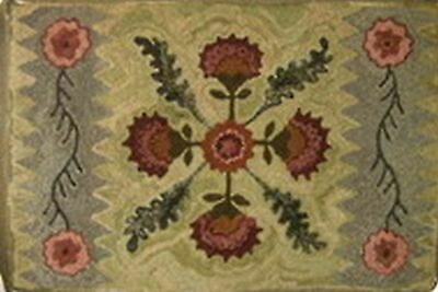 PRINCESS FEATHER MEETS PADULA primitive rug hooking pattern linen floral 31x48