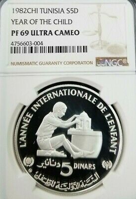 1982 Tunisia Silver 5 Dinars S5D Year Of The Child Ngc Pf 69 Ultra Cameo Top Pop