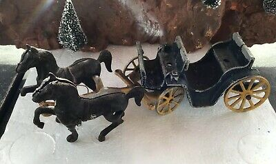 Antique Stanley Toys Cast Iron Horse Drawn Wagon Coach Carriage 1940's
