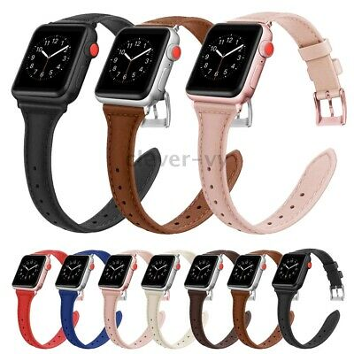 Thin Genuine Leather Band For Apple Watch Series 5 4 3 2 1 40mm 44mm 38mm 42mm