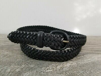 DOCKERS Mens Black Leather Braided Belt Sz 44 VGUC Great Casual Look
